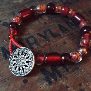 Red glass artisan made beaded button bracelet
